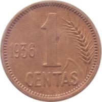 reverse of 1 Centas (1936) coin with KM# 79 from Lithuania. Inscription: 1936 1 CENTAS