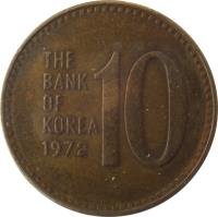 reverse of 10 Won (1970 - 1982) coin with KM# 6a from Korea. Inscription: 10 THE BANK OF KOREA 1980