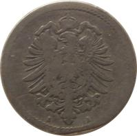 obverse of 5 Pfennig - Wilhelm I - Small eagle (1874 - 1889) coin with KM# 3 from Germany. Inscription: C C