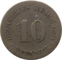reverse of 10 Pfennig - Wilhelm I - Small eagle (1873 - 1889) coin with KM# 4 from Germany. Inscription: DEUTSCHES REICH 1876 10 . PFENNIG .