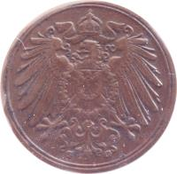 obverse of 1 Pfennig - Wilhelm II - Large eagle (1890 - 1916) coin with KM# 10 from Germany. Inscription: A A