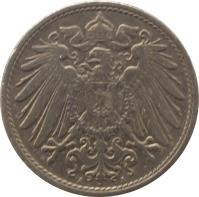 obverse of 10 Pfennig - Wilhelm II - Large eagle (1890 - 1916) coin with KM# 12 from Germany. Inscription: A A