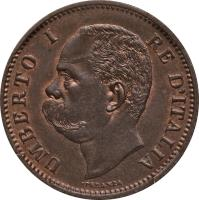 obverse of 5 Centesimi - Umberto I (1895 - 1900) coin with KM# 31 from Italy. Inscription: UMBERTO I RE D'ITALIA SPERANZA