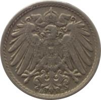 obverse of 5 Pfennig - Wilhelm II - Large eagle (1890 - 1915) coin with KM# 11 from Germany. Inscription: G G
