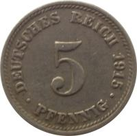 reverse of 5 Pfennig - Wilhelm II - Large eagle (1890 - 1915) coin with KM# 11 from Germany. Inscription: DEUTSCHES REICH 1895 5 . PFENNIG .