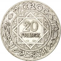 reverse of 20 Francs - Mohammed V (1929 - 1934) coin with Y# 39 from Morocco. Inscription: MAROC 20 FRANCS