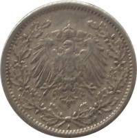 obverse of 1/2 Mark - Wilhelm II - Small shield (1905 - 1919) coin with KM# 17 from Germany. Inscription: A