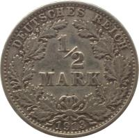 reverse of 1/2 Mark - Wilhelm II - Small shield (1905 - 1919) coin with KM# 17 from Germany. Inscription: DEUTSCHES REICH 1/2 MARK 1905