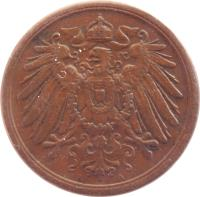 obverse of 2 Pfennig - Wilhelm II - Large eagle (1904 - 1916) coin with KM# 16 from Germany. Inscription: A A