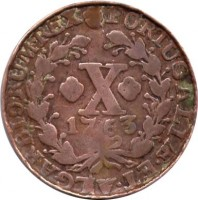 reverse of 10 Réis - José I (1751 - 1776) coin with KM# 243 from Portugal. Inscription: PORTUGALIÆ · ET · ALGARBIORUM · REX X 1763