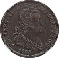 obverse of 40 Réis - João VI (1820 - 1825) coin with KM# 370 from Portugal. Inscription: JOANNES · VI · D · G · PORT · BR · ET · ALG · R