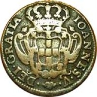 obverse of 10 Réis - João V (1737 - 1749) coin with KM# 227 from Portugal.