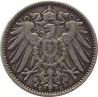 obverse of 1 Mark - Wilhelm II - Large eagle (1891 - 1916) coin with KM# 14 from Germany. Inscription: P P