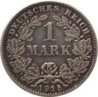 reverse of 1 Mark - Wilhelm II - Large eagle (1891 - 1916) coin with KM# 14 from Germany. Inscription: DEUTSCHES REICH 1 MARK 1896