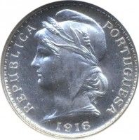 obverse of 20 Centavos (1913 - 1916) coin with KM# 562 from Portugal. Inscription: REPUBLICA PORTUGUESA 1916