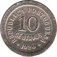 reverse of 10 Centavos (1920 - 1921) coin with KM# 570 from Portugal. Inscription: REPUBLICA PORTUGUESA 10 CENTAVOS 1920