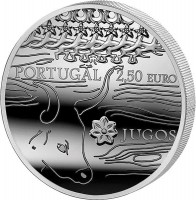 reverse of 2.5 Euro - The Yokes (2014) coin with KM# 843 from Portugal. Inscription: PORTUGAL 2,50 EURO JUGOS INCM - BAIBA SIME