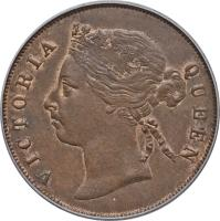 obverse of 1 Cent - Victoria (1884 - 1886) coin with KM# 9a from Straits Settlements. Inscription: VICTORIA QUEEN