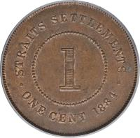 reverse of 1 Cent - Victoria (1884 - 1886) coin with KM# 9a from Straits Settlements. Inscription: · STRAITS SETTLEMENTS · 1 ONE CENT 1884