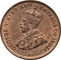 obverse of 1/4 Cent - George V (1916) coin with KM# 27 from Straits Settlements. Inscription: · GEORGE V KING AND EMPEROR OF INDIA