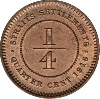reverse of 1/4 Cent - George V (1916) coin with KM# 27 from Straits Settlements. Inscription: · STRAITS SETTLEMENTS · 1/4 QUARTER CENT 1916
