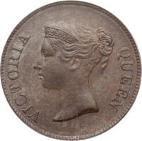obverse of 1/4 Cent - Victoria (1845) coin with KM# 1 from Straits Settlements. Inscription: VICTORIA QUEEN
