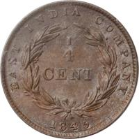 reverse of 1/4 Cent - Victoria (1845) coin with KM# 1 from Straits Settlements. Inscription: EAST INDIA COMPANY 1/4 CENT 1845
