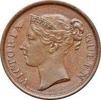obverse of 1/2 Cent - Victoria (1845) coin with KM# 2 from Straits Settlements. Inscription: VICTORIA QUEEN