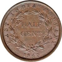 reverse of 1/2 Cent - Victoria (1845) coin with KM# 2 from Straits Settlements. Inscription: EAST INDIA COMPANY HALF CENT 1845