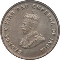 obverse of 5 Cents - George V (1920) coin with KM# 34 from Straits Settlements. Inscription: GEORGE V KING AND EMPEROR OF INDIA