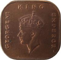 obverse of 1 Cent - George VI - Smaller (1943 - 1945) coin with KM# 6 from Malaya. Inscription: GEORGE VI KING EMPEROR