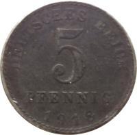 reverse of 5 Pfennig - Wilhelm II - Large eagle (1915 - 1922) coin with KM# 19 from Germany. Inscription: DEUTSCHES REICH 5 PFENNIG 1917
