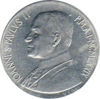 obverse of 10 Lire - John Paul II (1979 - 1980) coin with KM# 143 from Vatican City. Inscription: IOANNES PAVLVS II P.M.A.I · MCMLXXIX VEROI