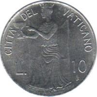 reverse of 10 Lire - John Paul II (1979 - 1980) coin with KM# 143 from Vatican City. Inscription: CITTA' DEL VATICANO L. 10 TEMPERANTIA