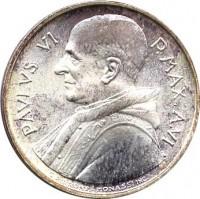 obverse of 500 Lire - Paulus VI (1968) coin with KM# 107 from Vatican City. Inscription: PAVLVS VI P.MAX.A.VI G.PIRRONE-MONASSI INC.