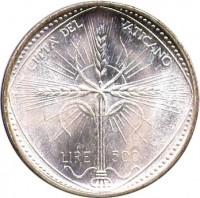 reverse of 500 Lire - Paulus VI (1968) coin with KM# 107 from Vatican City. Inscription: CITTA' DEL VATICANO LIRE 500