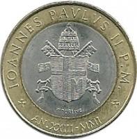 obverse of 1000 Lire - John Paul II (2001) coin with KM# 337 from Vatican City. Inscription: IOANNES PAVLUS II P.M. * AN.XXIII-MMI *