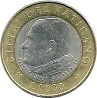 reverse of 1000 Lire - John Paul II (2001) coin with KM# 337 from Vatican City. Inscription: CITTA DEL VATICANO * L.1000 *