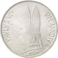 obverse of 5 Lire - Paul VI (1966) coin with KM# 86 from Vatican City. Inscription: PAVLVS VI P.M.ANNO IV