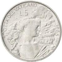 reverse of 5 Lire - Paul VI (1966) coin with KM# 86 from Vatican City. Inscription: CITTA' DEL VATICANO 1966 L.5