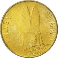 obverse of 20 Lire - Paul VI (1966) coin with KM# 88 from Vatican City. Inscription: PAVLVS VI P.M.ANNO IV