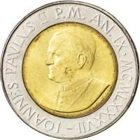 obverse of 500 Lire - John Paul II (1987) coin with KM# 204 from Vatican City. Inscription: IOANNES PAVLVS II P.M. AN. IX · MCMLXXXVII -