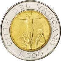 reverse of 500 Lire - John Paul II (1987) coin with KM# 204 from Vatican City. Inscription: CITTA' DEL VATICANO L.500