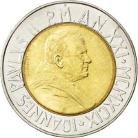 obverse of 500 Lire - John Paul II - Time of Choices, Time of Hope (1999) coin with KM# 310 from Vatican City. Inscription: IOANNES PAVLVS II P.M. AN XXI · MCMXCIX ·