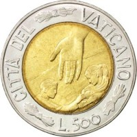 reverse of 500 Lire - John Paul II - Time of Choices, Time of Hope (1999) coin with KM# 310 from Vatican City. Inscription: CITTA' DELVATICANO L.500