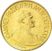 obverse of 20 Lire - John Paul II (1982) coin with KM# 162 from Vatican City. Inscription: IOANNES PAVLVS II P.M. AN.IV MCMLXXXII
