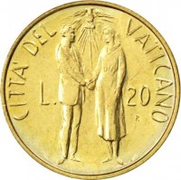reverse of 20 Lire - John Paul II (1982) coin with KM# 162 from Vatican City. Inscription: CITTA' DELVATICANO L. 20