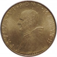 obverse of 20 Lire - Paul VI (1963 - 1965) coin with KM# 80 from Vatican City. Inscription: PAVLVS.VI.PONT.MAX.AN.II J.P.