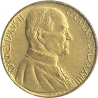 obverse of 20 Lire - John Paul II - Temptation of Adam and Eve (1988) coin with KM# 207 from Vatican City. Inscription: IOANNES PAVLVS II P.M. AN.X · MCMLXXXVIII VEROI