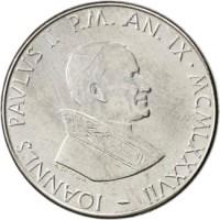 obverse of 50 Lire - John Paul II (1987) coin with KM# 201 from Vatican City. Inscription: IOANNES PAVLVS II P.M. AN.IX · MCMLXXXVII
